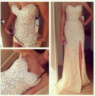 dress luxury sweetheart rhinestones long crystal quartz