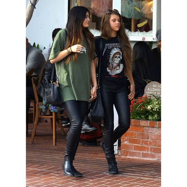 kylie jenner leather leggings yeezus t-shirt shirt pants