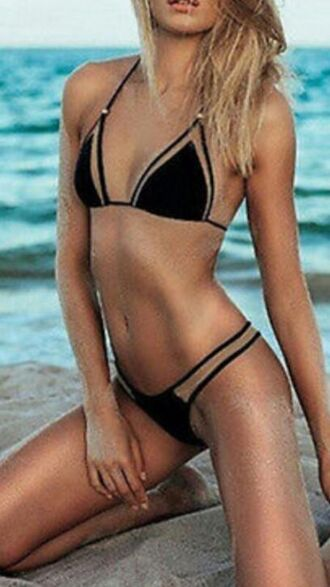 top cut-out cut out swimwear black swimwear black bikini blcak cutout bikini cut-out swimsuit black cutout bikini summer