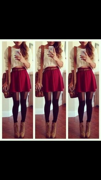 skirt red skater skirt cropped sweater