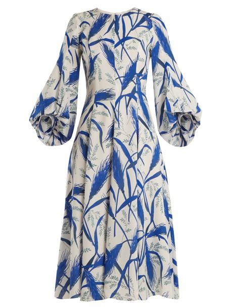 ANDREW GN dress midi dress midi print silk white blue