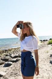 skirt,tumblr,mini skirt,ruffle,blue skirt,t-shirt,white t-shirt,embroidered,embroidered t-shirt