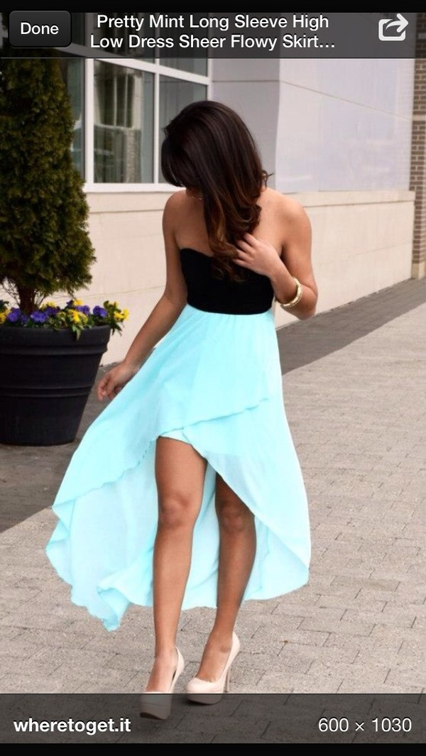 dress high low blue black