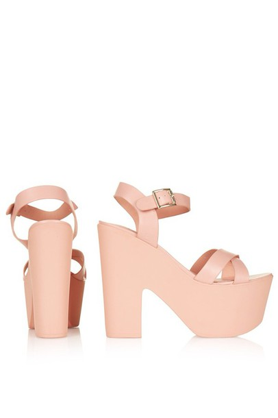 shoes sandals high heels coral platform shoes dusty pink