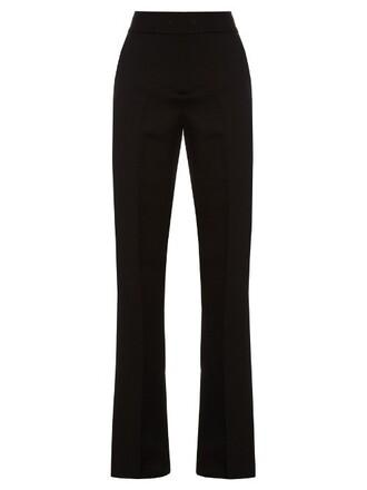 high silk wool black pants