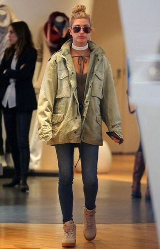 shoes sneakers jacket military style hailey baldwin nike green