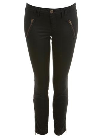 Black zip wetlook ankle grazer