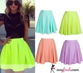 skirt neon skirt hight wiast skirt
