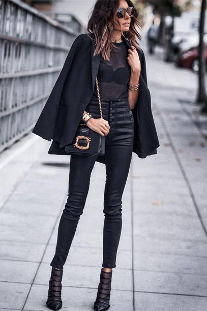 fashionedchic blogger underwear jacket pants shoes shoulder bag blazer all black everything black boots see through top