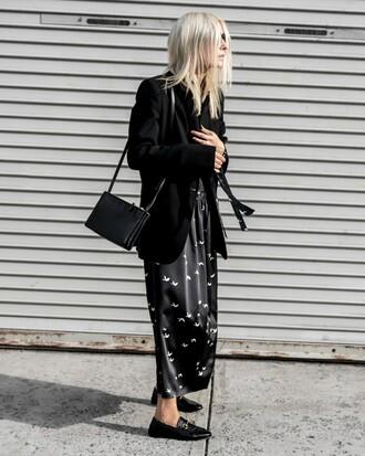dress blazer tumblr all black everything maxi dress long dress grey blazer black loafers loafers bag black bag
