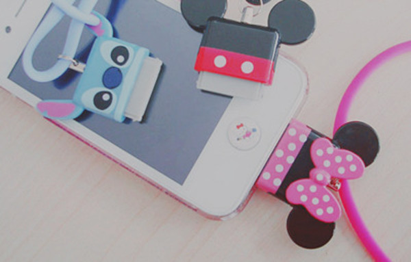 jewels disney minnie mouse mouse mickey mouse stich charger iphone love cute