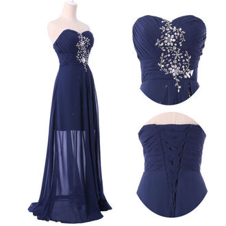 dress long navy blue dress navy dress winterfest winter formal dress prom flowers strapless dress fashion