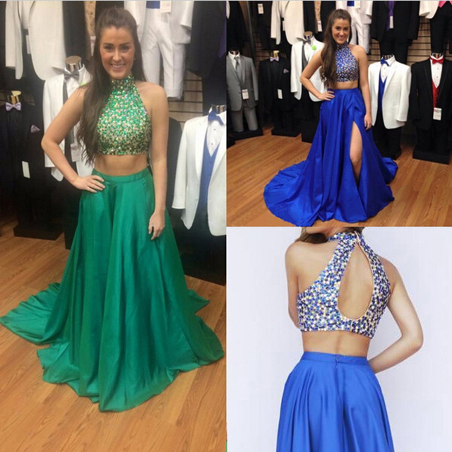 6c8cc9a490e Aliexpress.com   Buy Sexy 2 Piece Prom Dresses 2016 Long Halter Sequined  Beaded Backless Evening Party Dress Formal Gowns ...