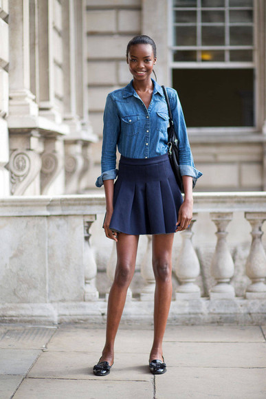 shirt skirt fall outfits fashion week 2014 streetstyle