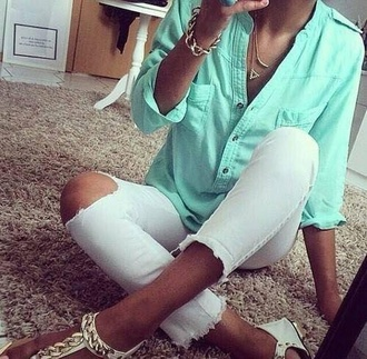 jeans white jeans high waisted denim shorts destroyed skinny jeans blouse