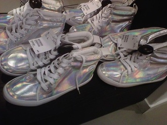 shoes holographic silver argent cute cool swag fashion lgbt platform shoes holo