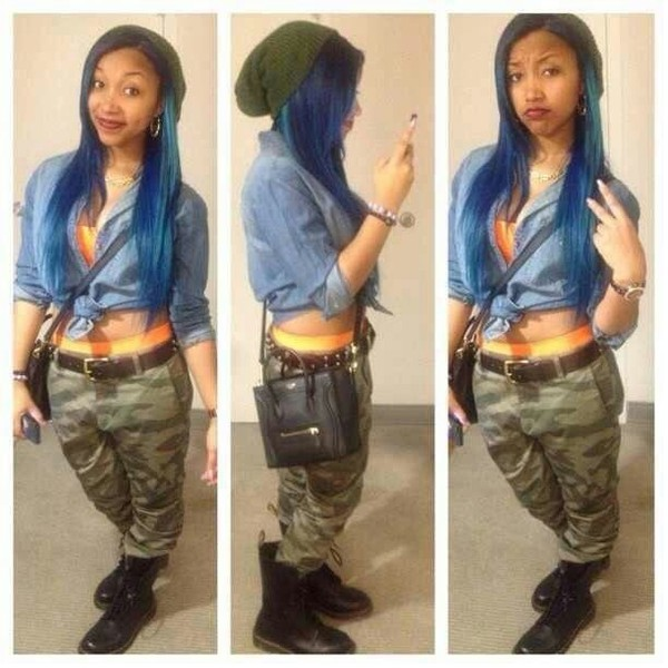 jeans zonnique pullins omg girlz denim shirt boots beanie orange swag