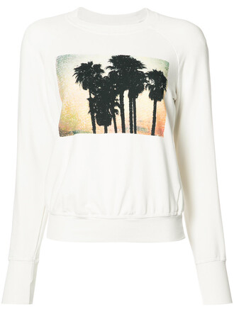 sweatshirt women spandex tree palm tree palm tree print white cotton print sweater