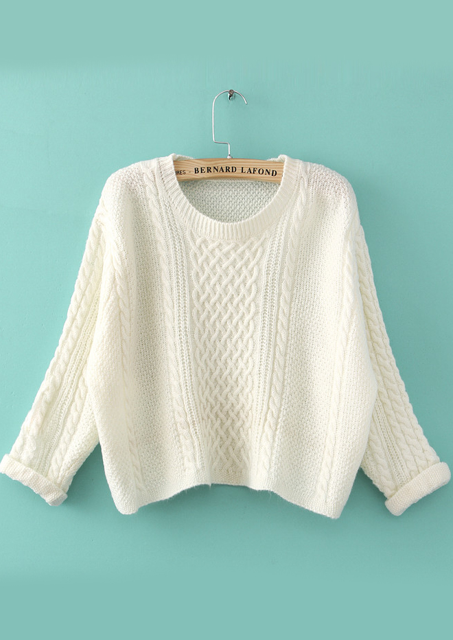 White Long Sleeve Cable Knit Crop Sweater - Sheinside.com