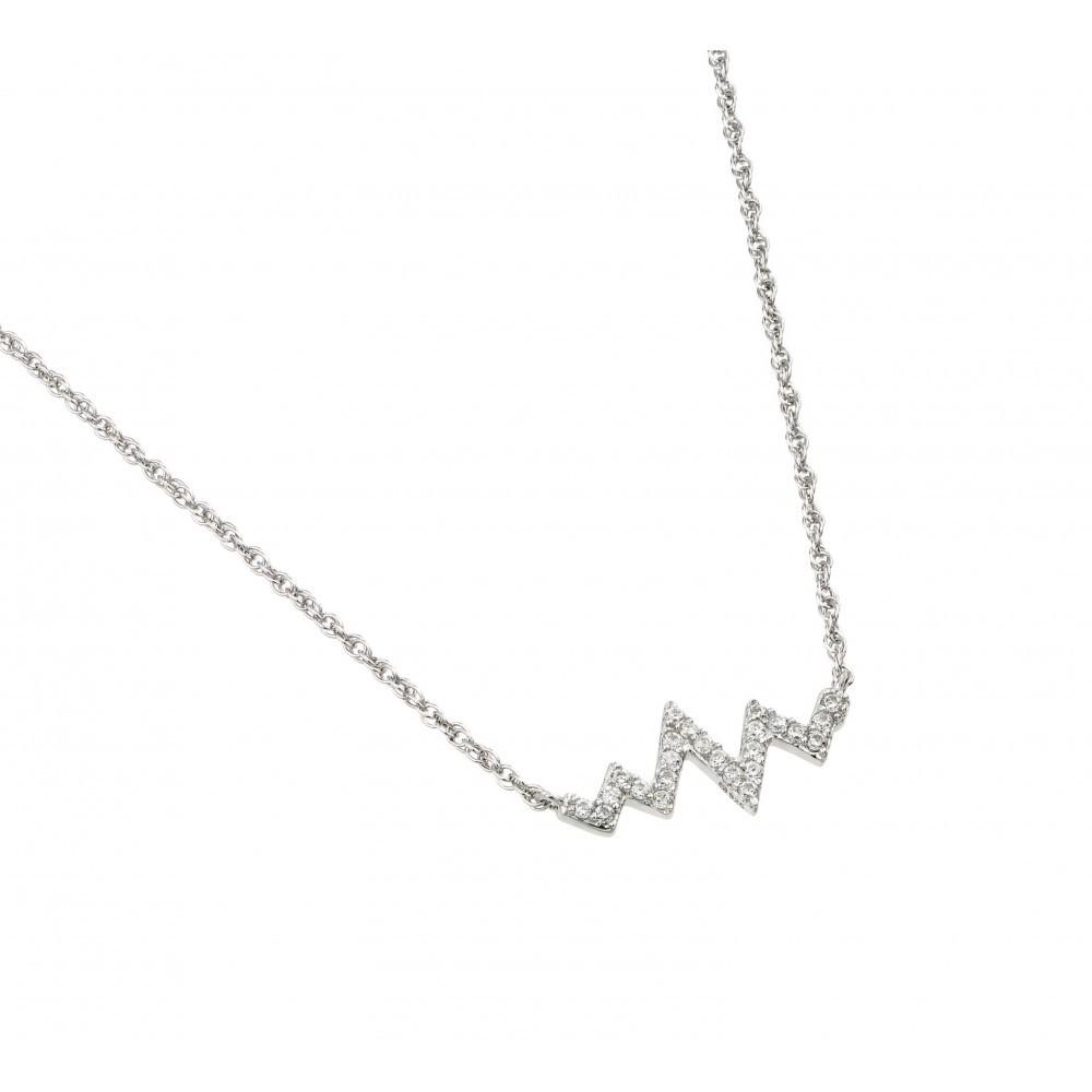 Sterling silver crystal zig zag heartbeat necklace