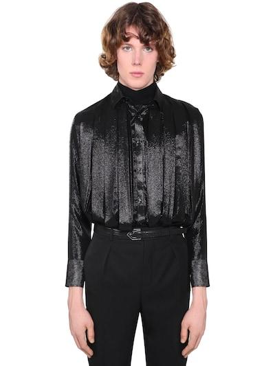 SAINT LAURENT Pleated Silk Blend Crepe Shirt Black