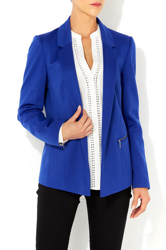 Blue Zip Detail Blazer - Jackets & Blazers  - Clothing  - Wallis