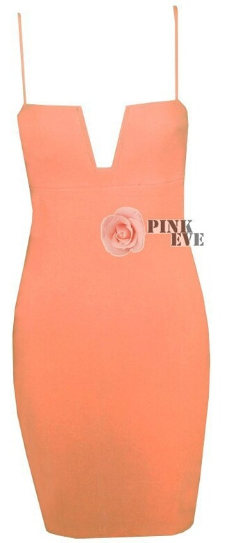 dress orange dress peach dress vneck vneck dress spaghetti strap spaghetti dresses plunge v neck