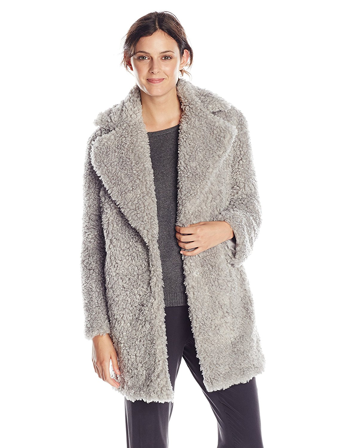 hot new products 2019 wholesale price classic styles Kensie Women's Notch-Collar Faux-Fur Coat at Amazon Women's Coats Shop