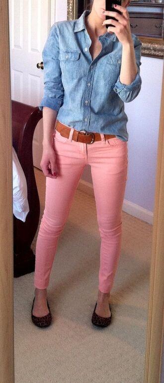 jeans brown belt pink jeans shirt denim shirt blue shirt belt ballet flats flats animal print