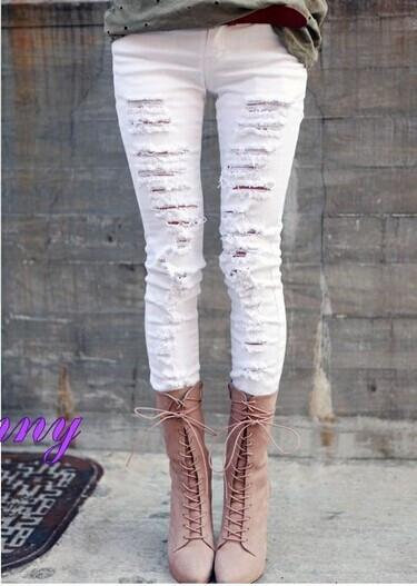 Pierced white jeans ht625ch