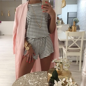 jumpsuit style striped dress striped skirt striped shirt black and white dress pink coat