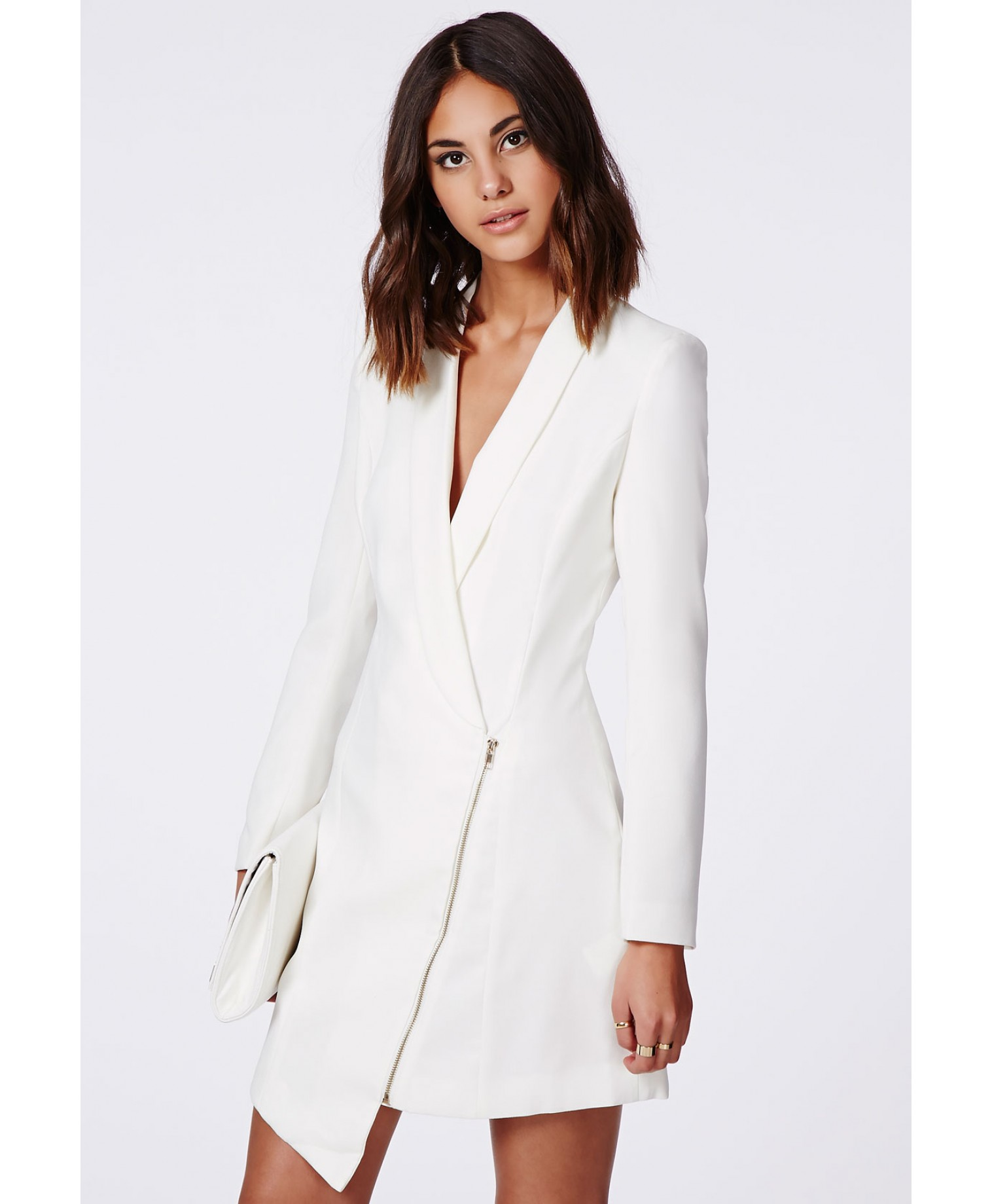 Missguided - Sancha Long Line Asymmetric Zipped Tux Dress In White