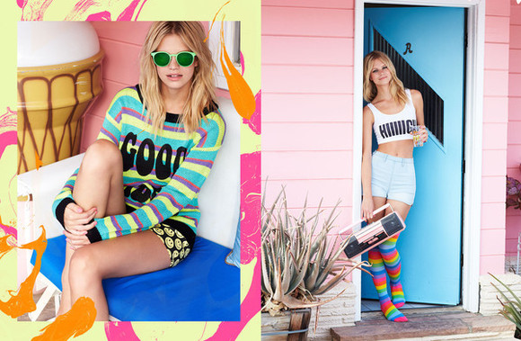 tumblr girl model fashion sweater rainbow rainbow socks rainbow sweater sunglasses