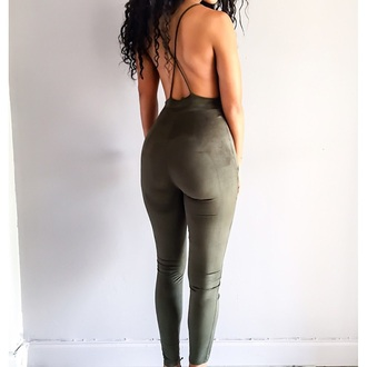 jumpsuit open back green fashion style trendy suede freevibrationz free vibrationz
