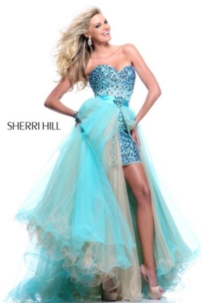 dress, sherri hill, prom, prom dress, blue dress, high low ...