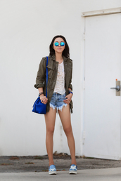 fit fab fun mom,blogger,bag,shoes,sunglasses,jewels,mirrored sunglasses,round sunglasses,denim shorts,distressed denim shorts,eyelet detail,eyelet top,white top,jacket,army green jacket,blue bag,bucket bag,slip on shoes,printed slippers