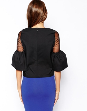 Paper Dolls | Paper Dolls Top With Sheer Insert and Bell Sleeve at ASOS