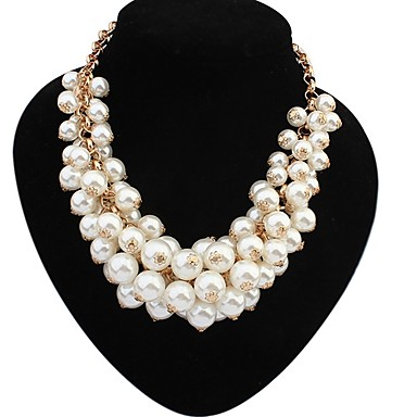 De verklaring van vrouwen imitatie parel luxe overdrijven elegante collier