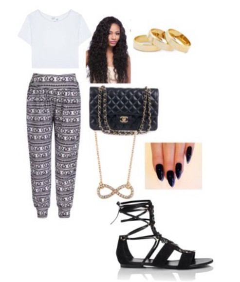 hairstyles bracelets bag gold black white nails art sandals infinity necklace pants