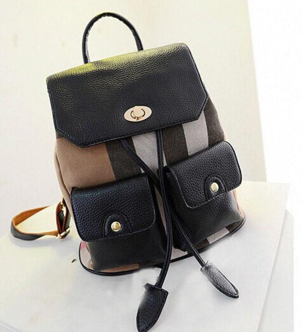 bag black leather backpack backpack