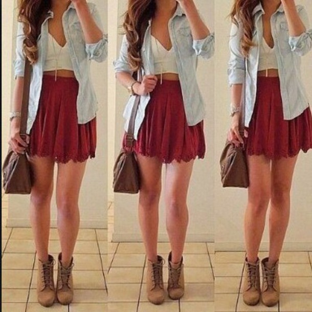 Skirt tumblr outfit girly help me find this skirt outfit idea summer summer outfits ...