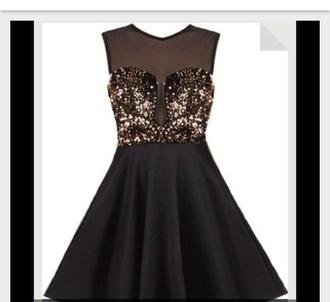dress black dress prom dress sparkle prom black gold