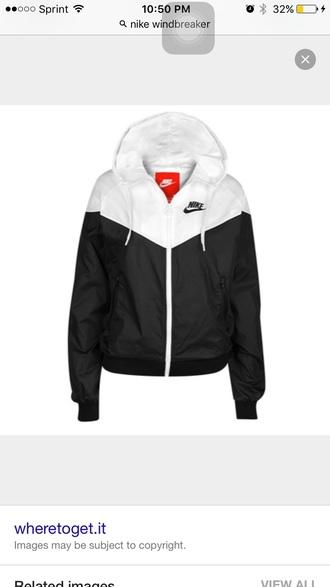 jacket nike windbreaker black and white
