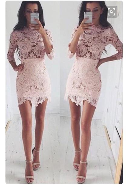 Dress Pink Crochet Crochet Dress Long Sleeves Long Sleeve Dress