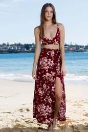 dress,two piece dress set,summer,beach,floral,red,slit skirt,cropped