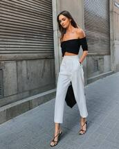 shoes,high heels,sandal heels,white pants,high waisted pants,off the shoulder top,bag