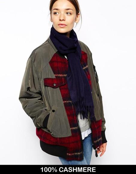 scarf khaki jacket winter jacket clothes bomber jacket tartan warm comfy cool
