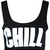 Womens Chill Slogan Print Ladies Cropped Strap Bralet Stretch Bra Vest Black Top | eBay