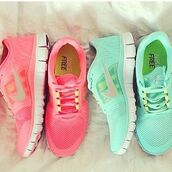 shoes,turquoise,pink,nike,trainers,running shoes,pretty,bright sneakers,green sneakers,nike shoes,nike free run,pastel,green,nike running shoes,nike sneakers,the baby blue ones,nike free run 3,nike air force,air max,mint,neon,nike sportswear,sneakers,pink shoes,pink sneakers,aqua,teal,bright,colorful,style,mint sneakers