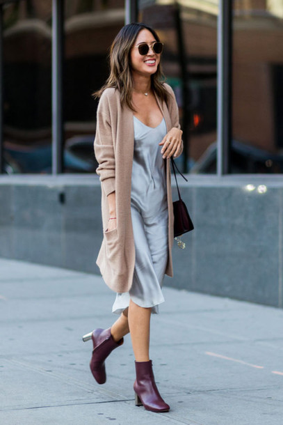 cardigan camel cardigan camel tumblr dress blue dress slip dress silk slip dress midi dress necklace boots mid heel boots ankle boots bag black bag sunglasses pastel dress long cardigan burgundy shoes date outfit
